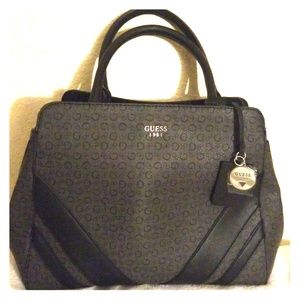 GUESS Large G Logo Birch Satchel Handbag.